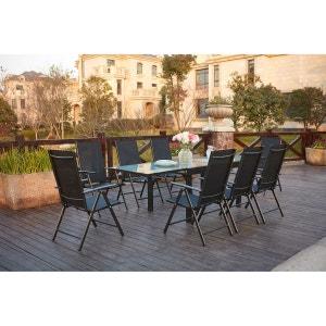 Brescia 8 : Ensemble de jardin en aluminium table extensible + 8 chaises en textilène CONCEPT USINE