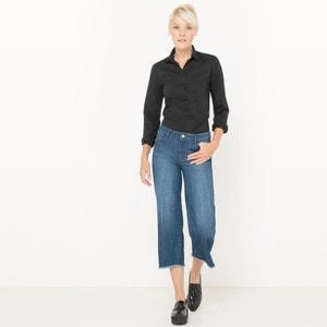 Jeans direitos curtos com franjas R édition
