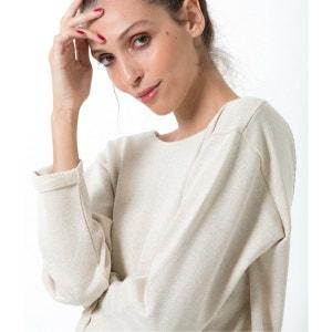 Sweat shirt en molleton decolleté brodé à porter de face ou de dos LES MARRISIENNES