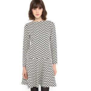 Vestido jacquard preto e branco MADEMOISELLE R