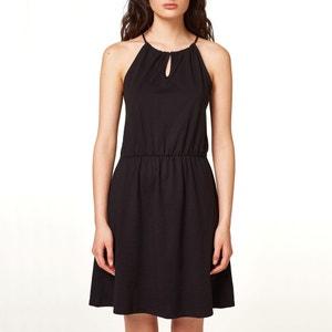 Kleid, schmale Träger, V-Ausschnitt, elastische Taille ESPRIT