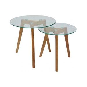 Lot de 2 Tables gigognes plateau verre transparent PM FIORD DECLIKDECO