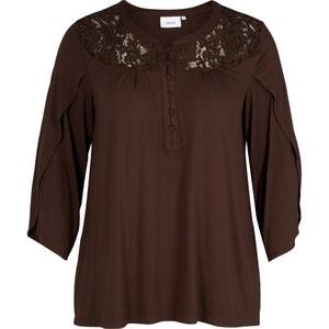 Langärmelige Bluse mit Rundhalsausschnitt, unifarben ZIZZI