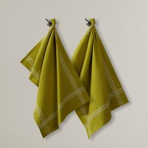 Ścierki z materiału o strukturze plastra miodu, przędza barwiona (komplet 2 szt.) La Redoute Interieurs