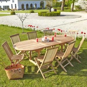 Salon de jardin en bois de TECK BRUT QUALITE PREMIUM 8/10 pers - Table ovale 180/240cm + 8 chaises BOIS DESSUS BOIS DESSOUS