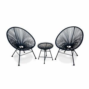 Ensemble de 2 fauteuils Acapulco chaise oeuf design rétro, avec table d'appoint, cordage Noir ALICE S GARDEN