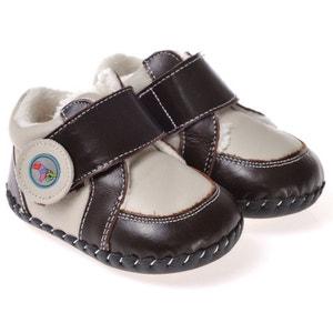 Chaussures premiers pas cuir souple | Baskets fourrées grises et marron foncé CAROCH