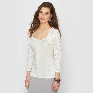 T-shirt in 2 stoffen, tricot en kant ANNE WEYBURN