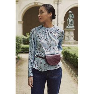 Bedrukte blouse met ronde hals en lange mouwen
