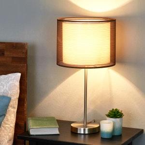 Lampe à poser Nica avec abat-jour textile brun LAMPENWELT