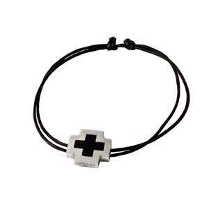 Bracelet Homme croix en argent et résine noire, lacet de coton COTE MECS