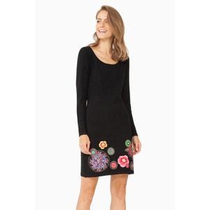 Vestido con flores en el bajo, manga larga DESIGUAL