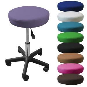 Tabouret rond à roulette réglable en hauteur de 45 à 62 cm et pivotable à 360° - 9 coloris VIVEZEN
