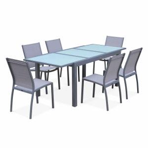 Salon de jardin table extensible - Orlando Gris clair - Table en aluminium 150/210cm et 6 chaises en textilène ALICE S GARDEN