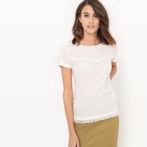 T-shirt manches courtes uni avec des franges La Redoute Collections