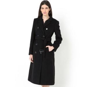Manteau mi-long ceinturé en velours de laine LAURA CLEMENT
