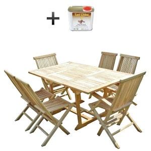 Ensemble salon de jardin en teck SERANG 4 chaises 2 fauteuils - Bundle huile C ET L JARDIN
