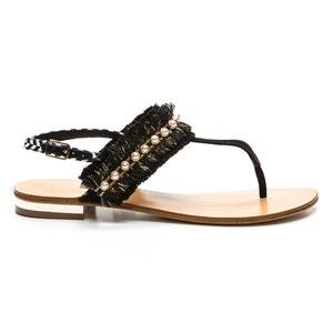 Sandali piatti pelle, dettagli perle, Hila COSMOPARIS