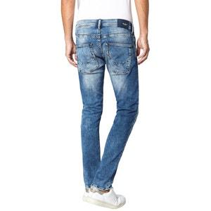 Proste jeansy ze stretchem, efekt sprania PEPE JEANS