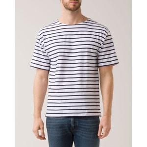 Tshirt Marin Authentique Blanc Bleu Marine pour homme ARMOR-LUX
