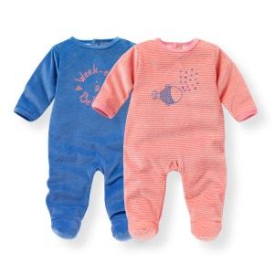 Pyjama velours 0 mois-3 ans (lot de 2) R mini