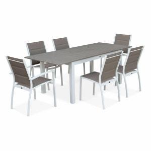 Salon de jardin table extensible - Chicago 210 Taupe - Table en aluminium 150/210cm avec rallonge et 6 assises en textilène ALICE S GARDEN