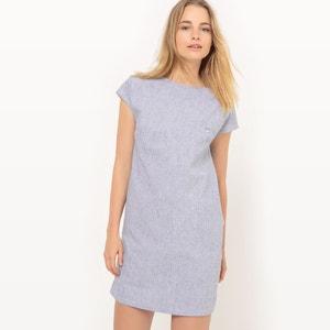 Gerades Kleid, Knopfverschluss, hinten, Baumwolle/Leinen R essentiel