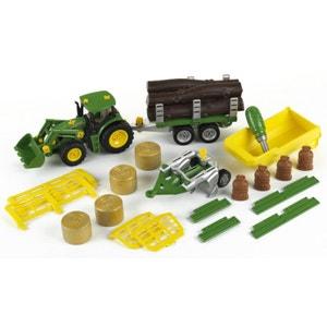 Modèle réduit : Tracteur John Deere avec benne basculante, remorque, char à bois et foin, charrue KLEIN