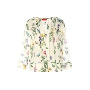 Blusa con cuello de pico, manga larga y estampado de flores RENE DERHY