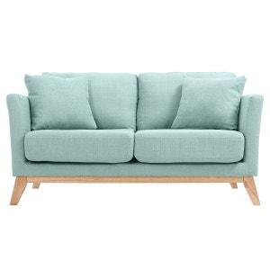 Canapé scandinave 2 places déhoussable pieds bois OSLO MILIBOO