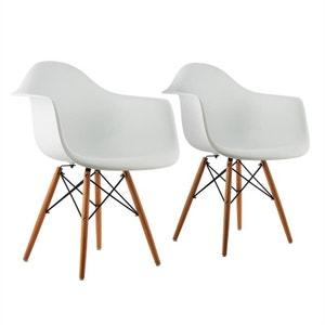oneConcept Bellagio Set de 2 chaises de salon design style rétro ? blanc ONECONCEPT