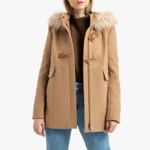 Halflange duffelcoat met kap
