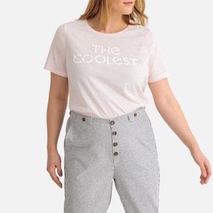 T-shirt met tekst, ronde hals en korte mouwen