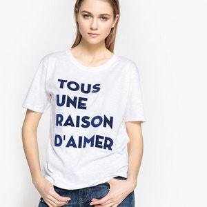 T-shirt, mangas curtas, mensagem em veludo La Redoute Collections