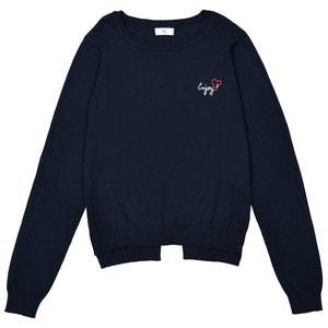 Sweter z cienkiej dzianiny z haftem, 10-16 lat La Redoute Collections