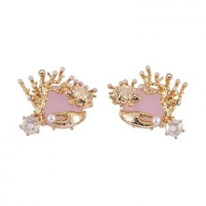 Les Néréides - Boucles d'oreilles poisson, pince & coraux sur verre taillé rose LES NEREIDES