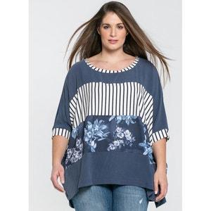 Bedrukte blouse met ronde hals en korte mouwen MAT FASHION