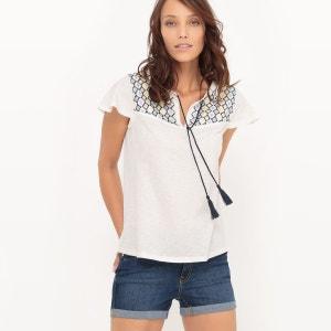 T-shirt détail broderies et pompoms R Edition