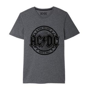 T-shirt estampada, gola redonda, AC DC ACDC