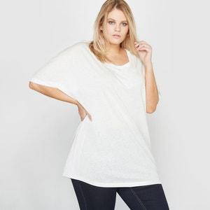 Wijde T-shirt in linnen en katoen CASTALUNA