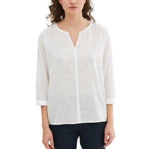 Blusa de manga 3/4 con cuello de pico, de algodón ESPRIT