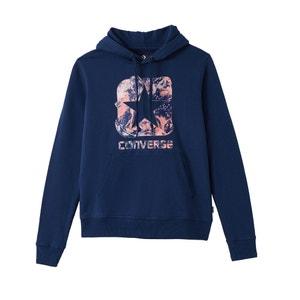 Sweater met kap en print vooraan, zuiver katoen CONVERSE