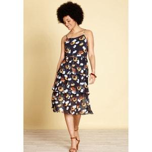 Wijd uitlopende korte jurk met bloemenprint YUMI