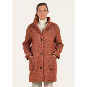 Manteau en laine chiné brique MAT DE MISAINE