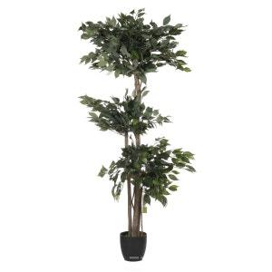 Ficus Artificiel 3 boules 2 troncs naturels 210 CM 1512 feuilles - choisissez la taille: 210 cm et 1512 feuilles ARTIF-DECO