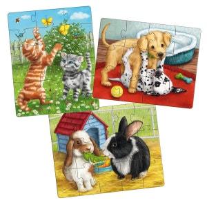 Puzzles 12 à 18 pièces : 3 puzzles Animaux de compagnie HABA