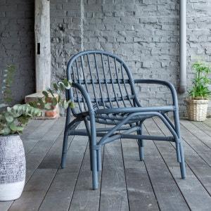 assise chaise fauteuil rotin gris mobilier de salon-séjour accoudoirs TIKAMOON