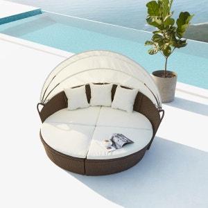 Cocoon : salon de jardin modulable 6/8 personnes en résine tressée marron/blanc CONCEPT USINE