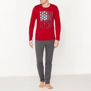 Pyjama bicolore manches longues en jersey de coton La Redoute Collections