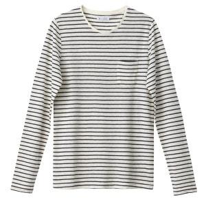 T-shirt manches longues col rond rayé mélange lin R essentiel